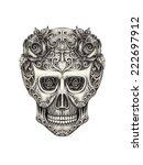 art skull day of the dead. hand ... | Shutterstock . vector #222697912