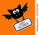 cute bat with plate happy...   Shutterstock .eps vector #222721342