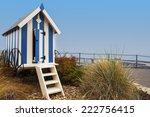 Striped Blue Beach Hut On Filey ...