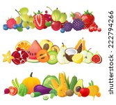 3 fruits vegetables and berries ... | Shutterstock .eps vector #222794266