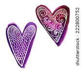 set of two hand drawn purple... | Shutterstock .eps vector #222800752