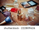 various makeup products on ... | Shutterstock . vector #222809626