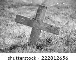 Weathered Wooden Cross Marking...