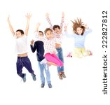 little kids jumping isolated in ... | Shutterstock . vector #222827812