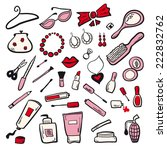 women cosmetics set pink | Shutterstock .eps vector #222832762