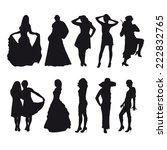 girls silhouettes black | Shutterstock .eps vector #222832765