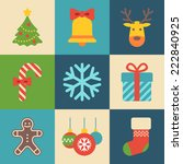 merry christmas icons | Shutterstock .eps vector #222840925