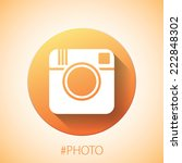 Hipster photo or camera icon. Flat with shadow simple design. EPS10 vector