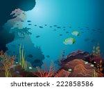 coral reef and underwater... | Shutterstock .eps vector #222858586