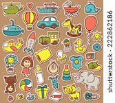 funny baby toys doodle stickers ... | Shutterstock .eps vector #222862186