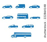 Stock vector blue clean simple flat set of vehicle silhouettes 222864148
