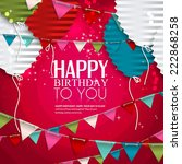 birthday card with balloons in... | Shutterstock .eps vector #222868258