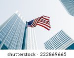 View Of American Flag On Blue...