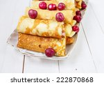 pancakes stuffed with cottage...   Shutterstock . vector #222870868