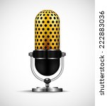 golden retro microphone. | Shutterstock .eps vector #222883036
