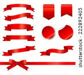 red ribbons set isolated on... | Shutterstock .eps vector #222892405