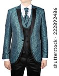 Wedding mens jacket with a turquoise floral ornament for the bride, or prom, isolated on white background. - stock photo