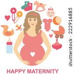 pregnant woman waiting a baby...   Shutterstock .eps vector #222916885