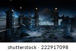 Stock photo old gothic cemetery with iron gate and lantern 222917098