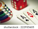 Poker set in macro - stock photo