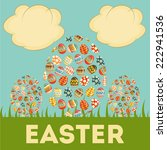 easter card with easter eggs.... | Shutterstock . vector #222941536