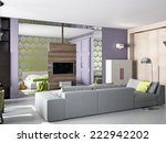 3d interior of small flat with... | Shutterstock . vector #222942202