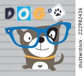 funny dog with glasses striped... | Shutterstock .eps vector #222982426