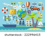 travel vacation flat design set.... | Shutterstock .eps vector #222996415