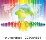 Colorful businesspeople are standing in front of large world map - stock vector