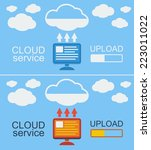 cloud service concept on blue ... | Shutterstock .eps vector #223011022