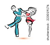Jive Dancing Couple  Outlined...