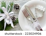 christmas dinner invitation on... | Shutterstock . vector #223024906