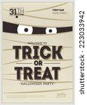 vector halloween party poster.... | Shutterstock .eps vector #223033942