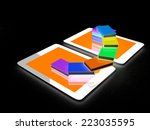 tablet pc and colorful real... | Shutterstock . vector #223035595