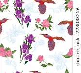 seamless pattern with tropical...   Shutterstock .eps vector #223038256