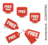set of red free tags  buttons...