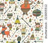 beautiful indian seamless... | Shutterstock .eps vector #223055512