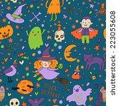 beautiful vector halloween... | Shutterstock .eps vector #223055608