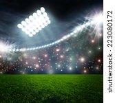 soccer ball on green stadium...   Shutterstock . vector #223080172