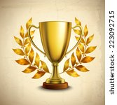 golden metallic trophy cup... | Shutterstock .eps vector #223092715