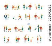 family figures flat icons set... | Shutterstock .eps vector #223093282