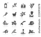 herbs and spices black icons... | Shutterstock .eps vector #223093378