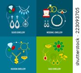 jewelry icons flat set of...   Shutterstock .eps vector #223093705