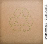recycle logo on recycled paper...   Shutterstock . vector #223100818