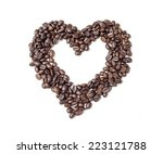 Heart Of Coffee Beans On White...