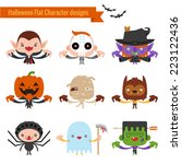 halloween character icons flat... | Shutterstock .eps vector #223122436