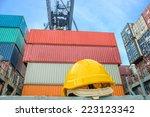 yellow safety helmet on... | Shutterstock . vector #223123342