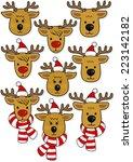 Reindeer Faces  In Santa Claus...