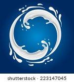 Milk Circle Splash On Blue...