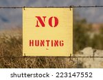 Wood No Hunting Sign Wired To ...